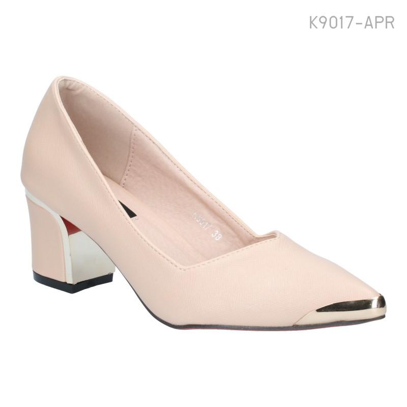 รองเท้าคัทชู ส้นสูง หัวแหลม แต่งหัวสีทอง (สีแอปริคอท )