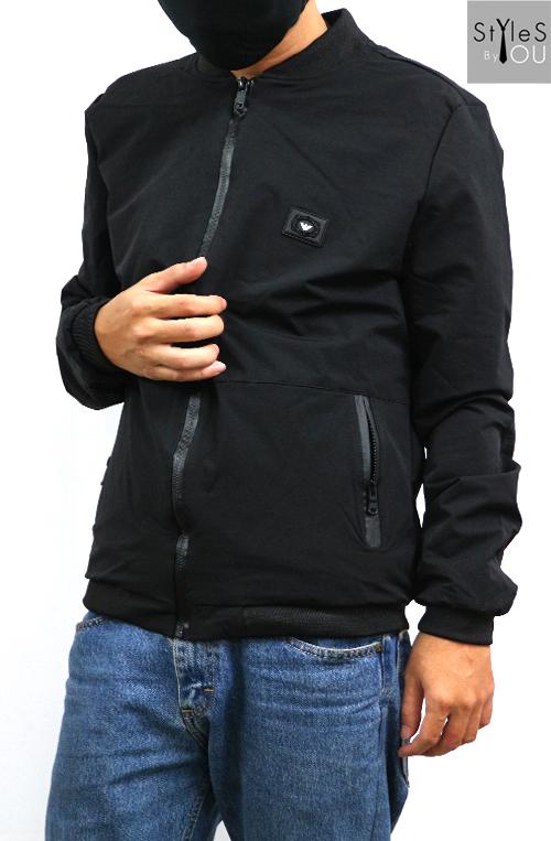 &#x2642 เสื้อกันหนาวสีดำ เสื้อคลุมสีดำ เสื้อแจ็คแก็ตสีดำสไตล์พื้นๆ ปักโลโก้ปีกนกเพิ่มความชิคอย่างลงตัว มี 5 Size