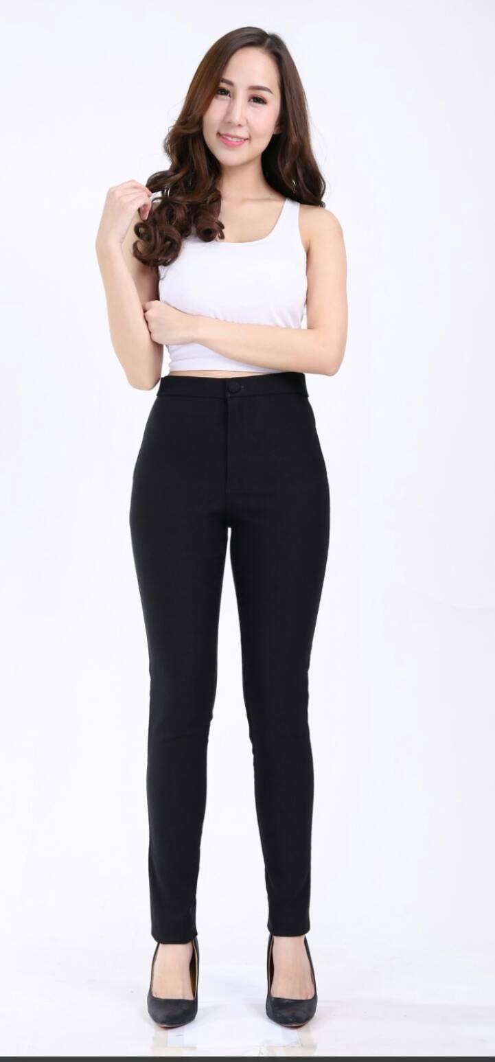 กางเกงสกินนี่(skinny) เอวสูงซิปหน้า เนื้อดี # L สีดำ