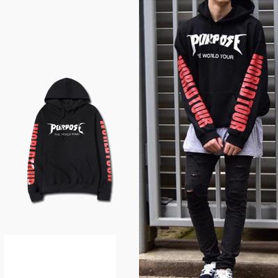 เสื้อฮู้ดแจ็คเก็ตแขนยาว Justin Bieber แต่งลายอักษร