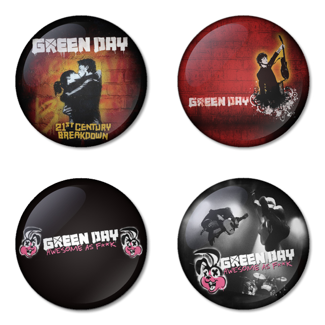 Greenday button badge 1.75 inch custom backside 4 type Pinback, Magnet, Mirror or Keychain. Get 4 in package [4]