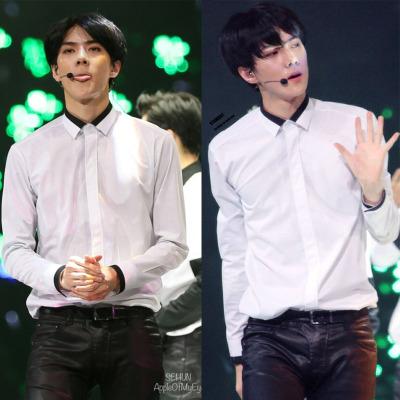 เสื้อเชิ้ตแขนยาวสีขาว EXO แต่งแถบสีคอเสื้อ
