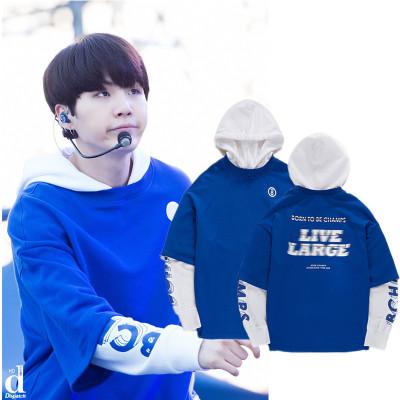 เสื้อฮู้ดแจ็คเก็ตเกาหลี สีน้ำเงิน BTS แต่งเสื้อ2ชั้นพิมพ์ลาย
