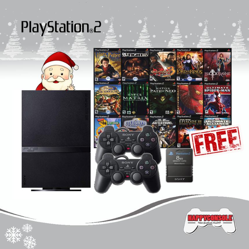 PlayStation 2 Slim + 2 จอย + Memory Card ฟรี 3 เกม