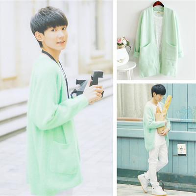 เสื้อคาร์ดิแกนตัวยาว TFBOYS สีเขียวอ่อน แต่งกระเป๋าเสื้อ