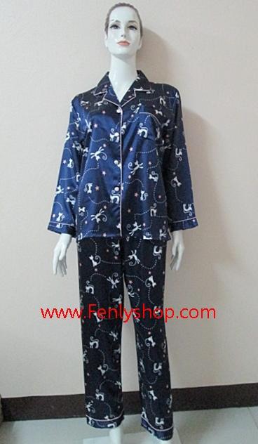 ชุดนอน(ญ)ผ้าซาตินกางเกงขายาวแขนยาว แบบลายแมวน่ารัก สีนำเงินข้ม ตัวเสื้อรอบอก 40 นิ้ว