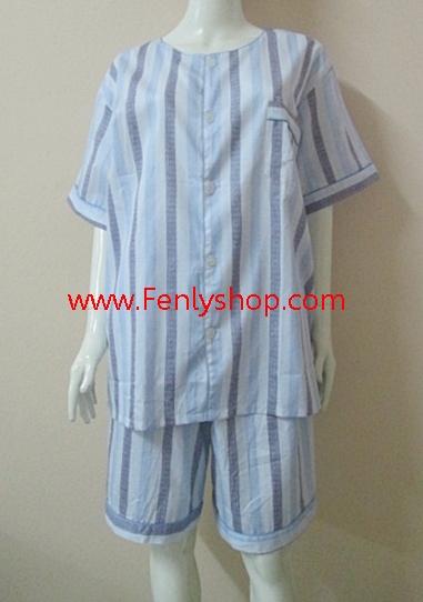 ชุดนอน(ช)กางเกงขาสั้น ผ้า Cotton เกรด เอ แบบลายสีฟ้าเทา คอกลม ขนาดไซส์ XXL