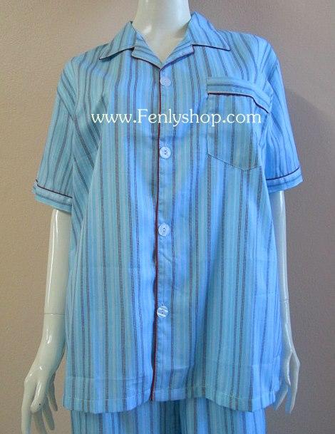 ชุดนอน(ช)กางเกงขาสั้น ผ้า Cotton เกรด เอ แบบลายสีฟ้าเข้ม คอปก ขนาดใหญ่ไซส์ XXL