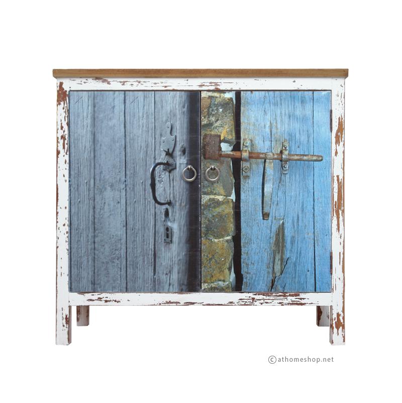 ตู้บานเปิดพิมพ์ลาย Old door lock cabinet