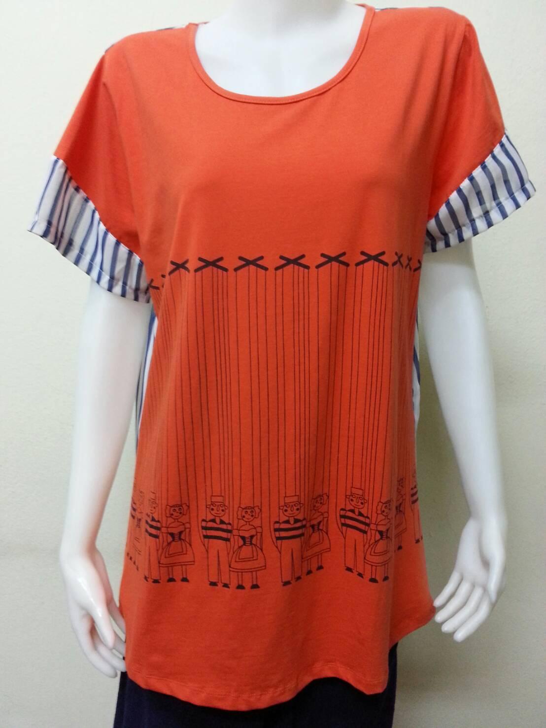 เสื้อยืดคอกลม ด้านหลังผ้าชีฟอง สีส้ม BY T&L Size 46