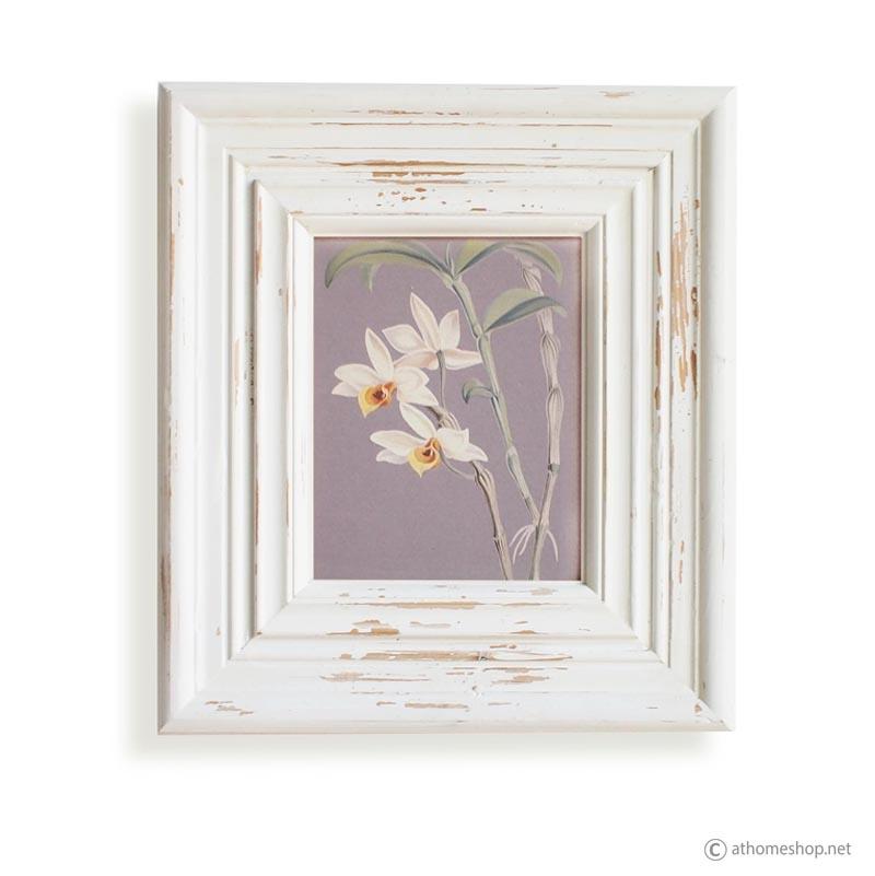วอลล์อารต์พิมพ์ลายดอกไม้ กรอบบัวสีขาว