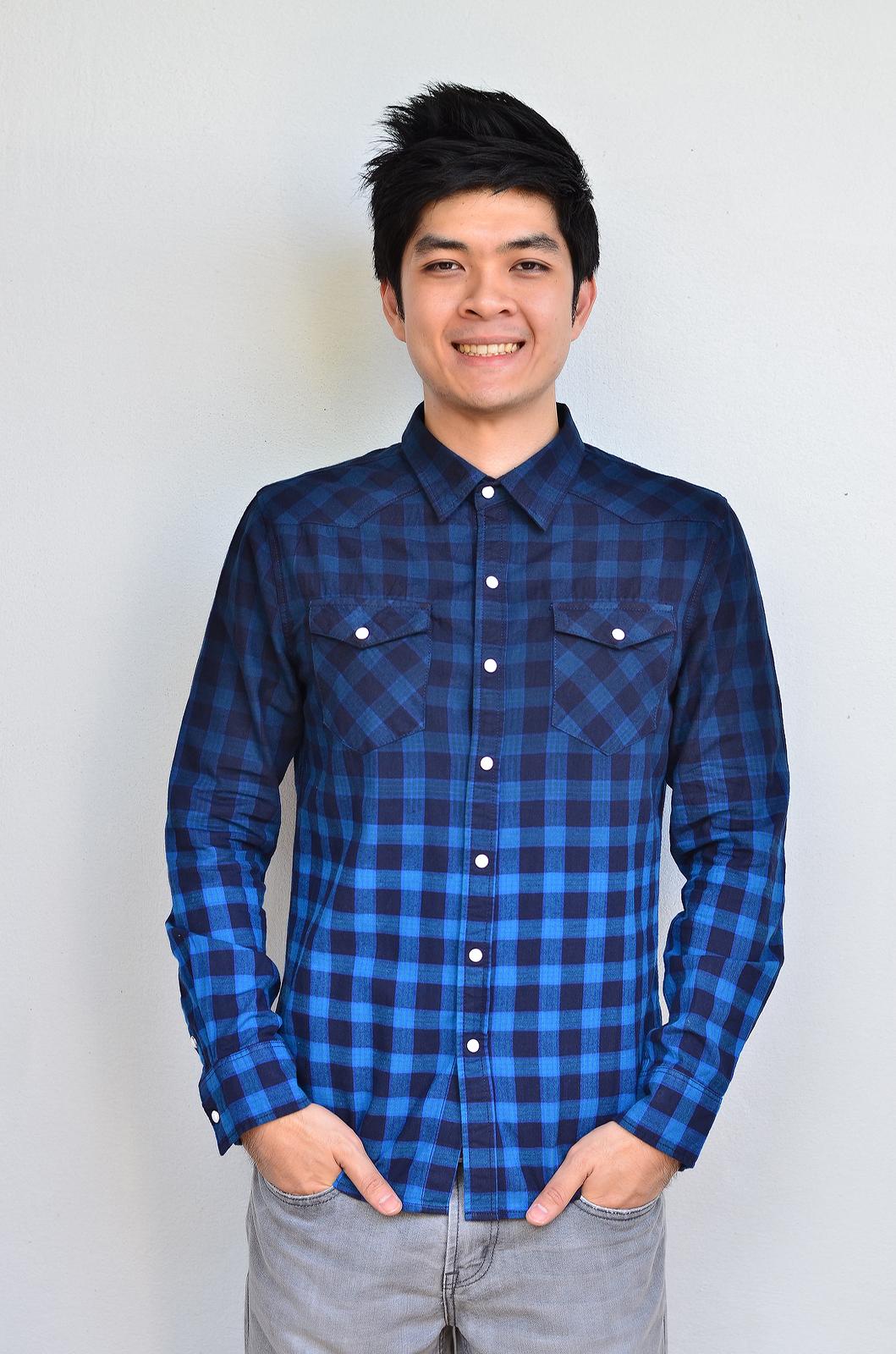 เสื้อลายสก๊อต ผู้ชาย สีน้ำเงิน