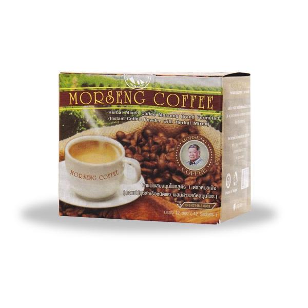 กาแฟผสมสมุนไพร หมอเส็งสูตร 1 ผสมยาบำรุงร่างกาย กล่องเล็ก 12 ซอง