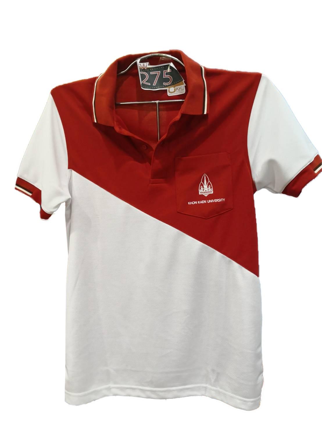 เสื้อโปโลปาดอิฐ-ขาว ไซส์ M ชาย