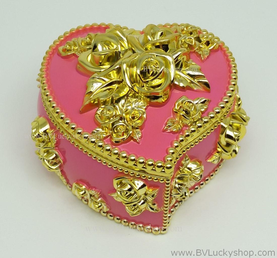 กล่องเก็บเครื่องประดับ หัวใจ ยาว 4 นิ้ว - สีชมพู/ทอง [HE18011-Pi.G]