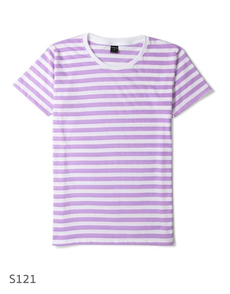 เสื้อยืดคอกลมลายทาง S121 (ครึ่งนิ้ว สีม่วงขาว)