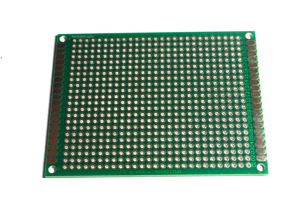 แผ่นปริ๊นอเนกประสงค์ แผ่นปริ้นไข่ปลา Prototype PCB Board 6x8 cm สีเขียว