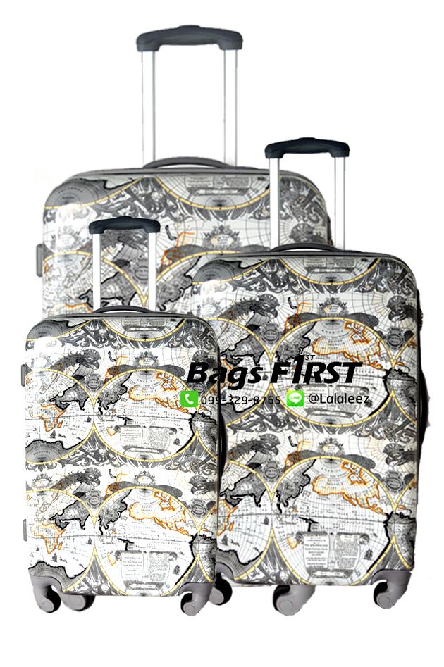 กระเป๋าเดินทางเนื้อ PC ลายแผนที่ ขนาด 28 นิ้ว