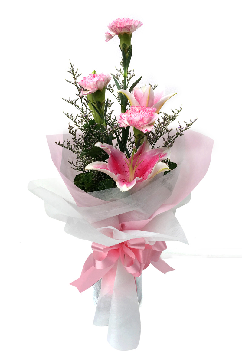 ช่อดอกไม้ ลิลลี่ชมพู-คาร์เนชั่น รหัส 4717