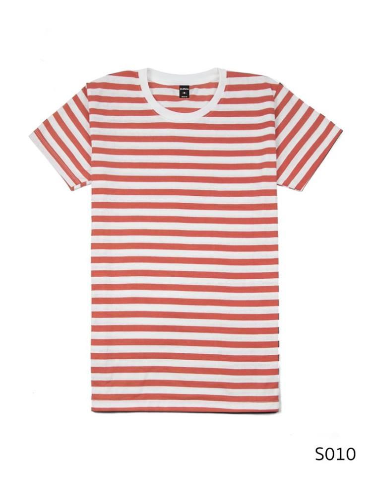 เสื้อยืดคอกลมลายทาง ริ้ว1เซนติเมตร S010 (สีส้มโอรส)