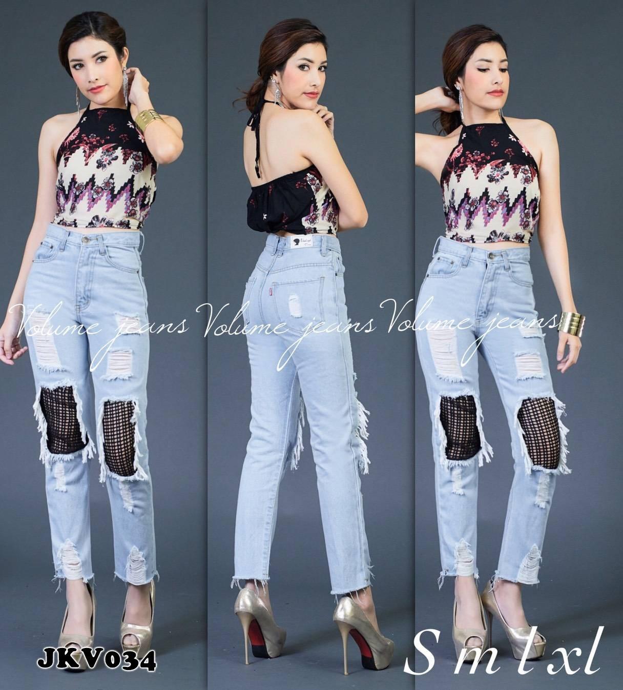 กางเกงยีนส์ทรงบอยเอวสูง สียีนส์ฟอกอ่อน สกิดขาดเซอร์ แต่งตาข่าย มี SIZE S,M,L,XL