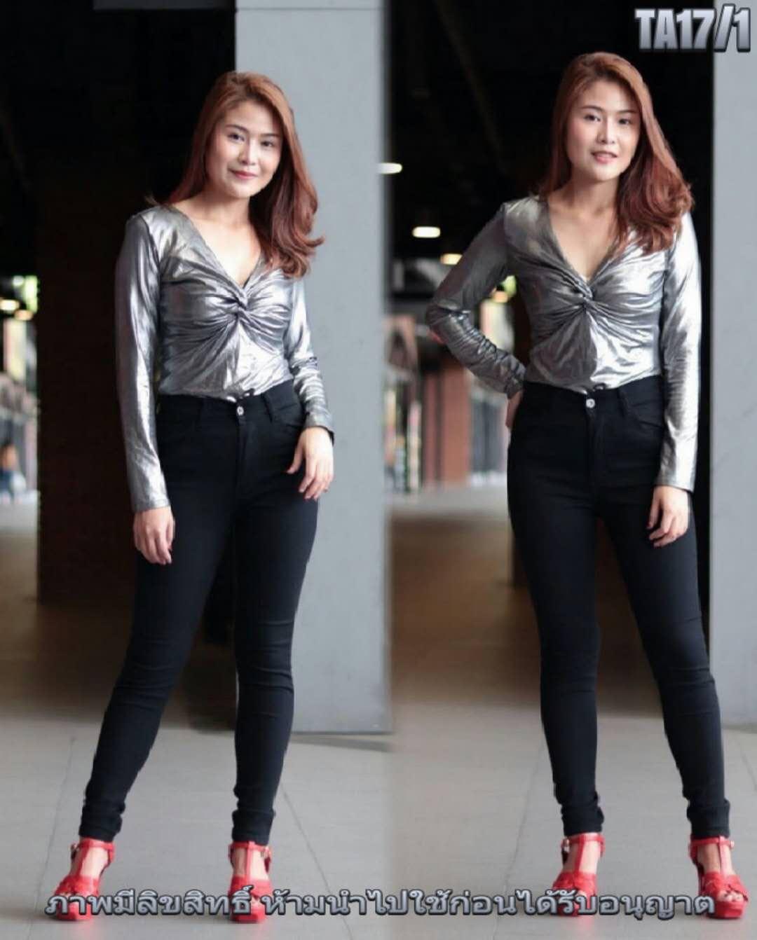 กางเกงยีนส์แฟชั่นเอวสูงขาเดฟไซส์ใหญ่ ซิบหน้า สีดำ มี SIZE 34 36 38 40