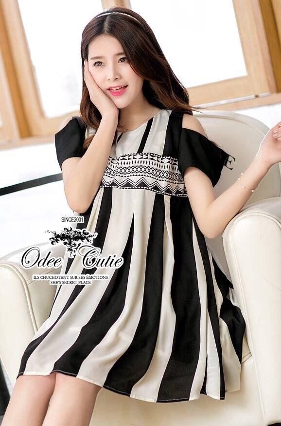 Monochrome striped shoulder cut mini dress