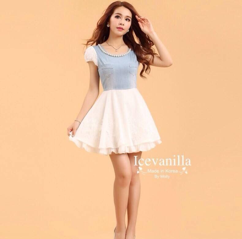 White 3D rose Denim Dress style korea