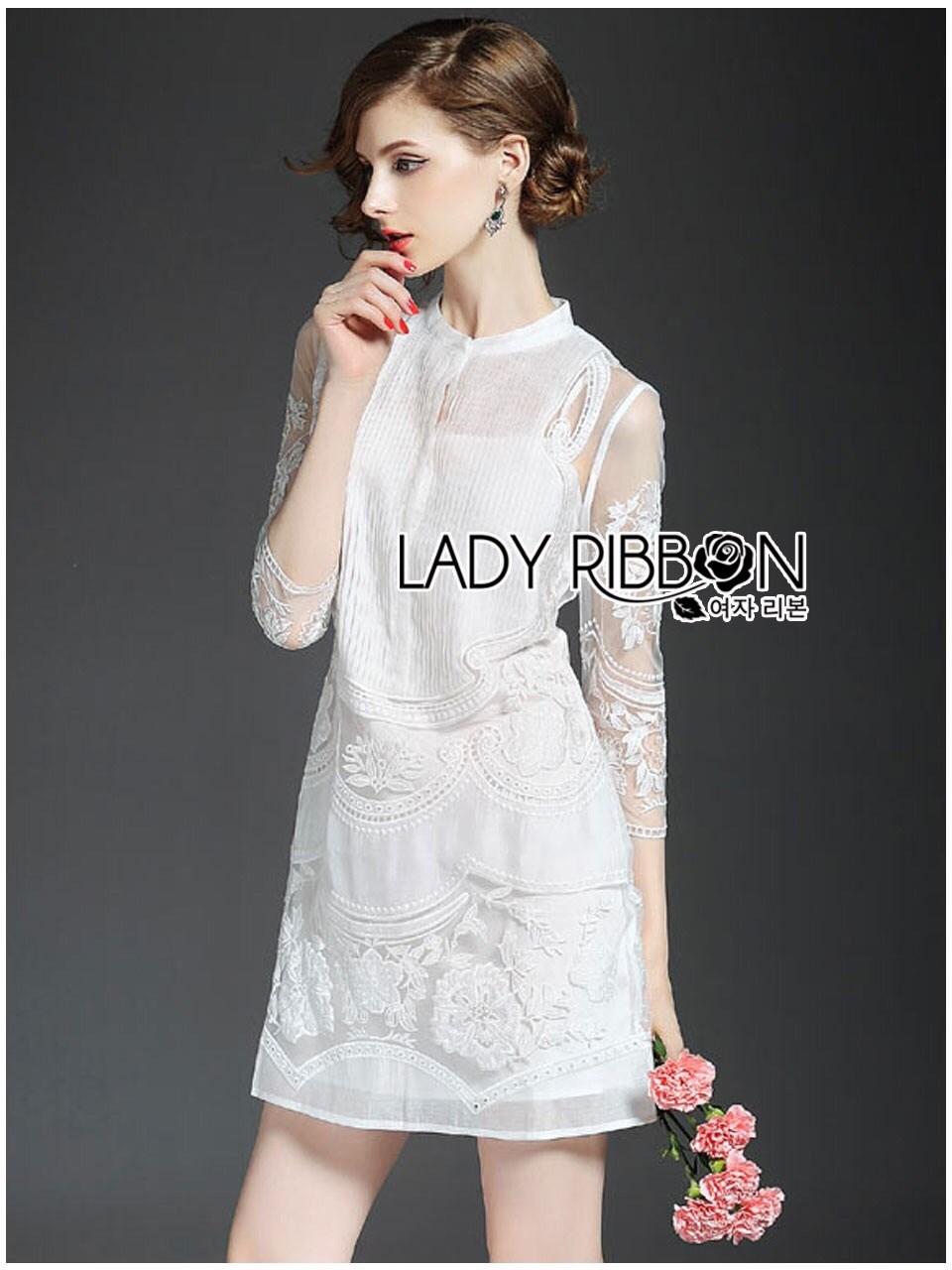 Embroidered Organza and Cotton Mini Dress