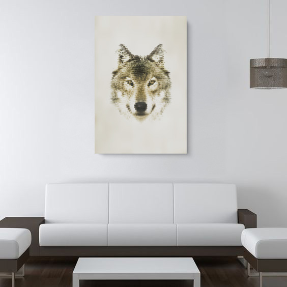 กรอบลอยผ้าแคนวาส ภาพหมาป่า wolf อาร์ต