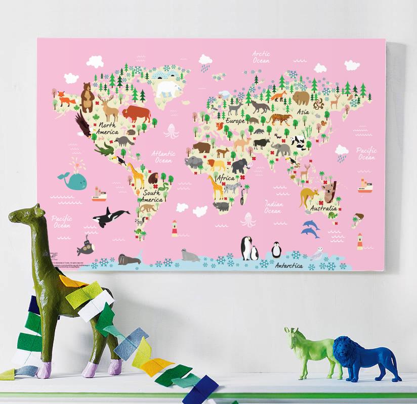 กรอบลอยแคนวาส Animal map of the world 36 x 24 นิ้ว