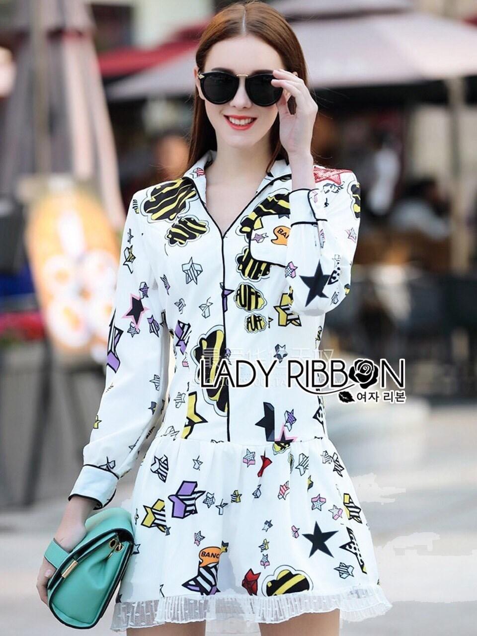 Kate Playful Chic Printed Peplum Shirt Dress