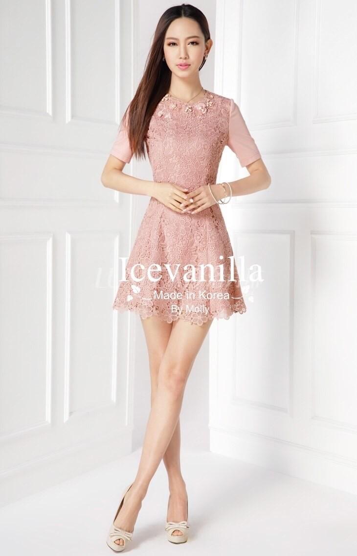 Vivid 3D pink lace stitch Diamonds Dress