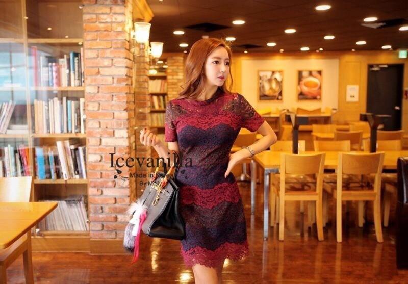 Wave flower lace Dress Color