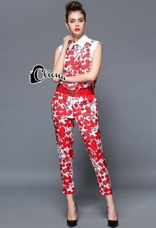 Luxury Red Floral Leaves Top + Pant Set