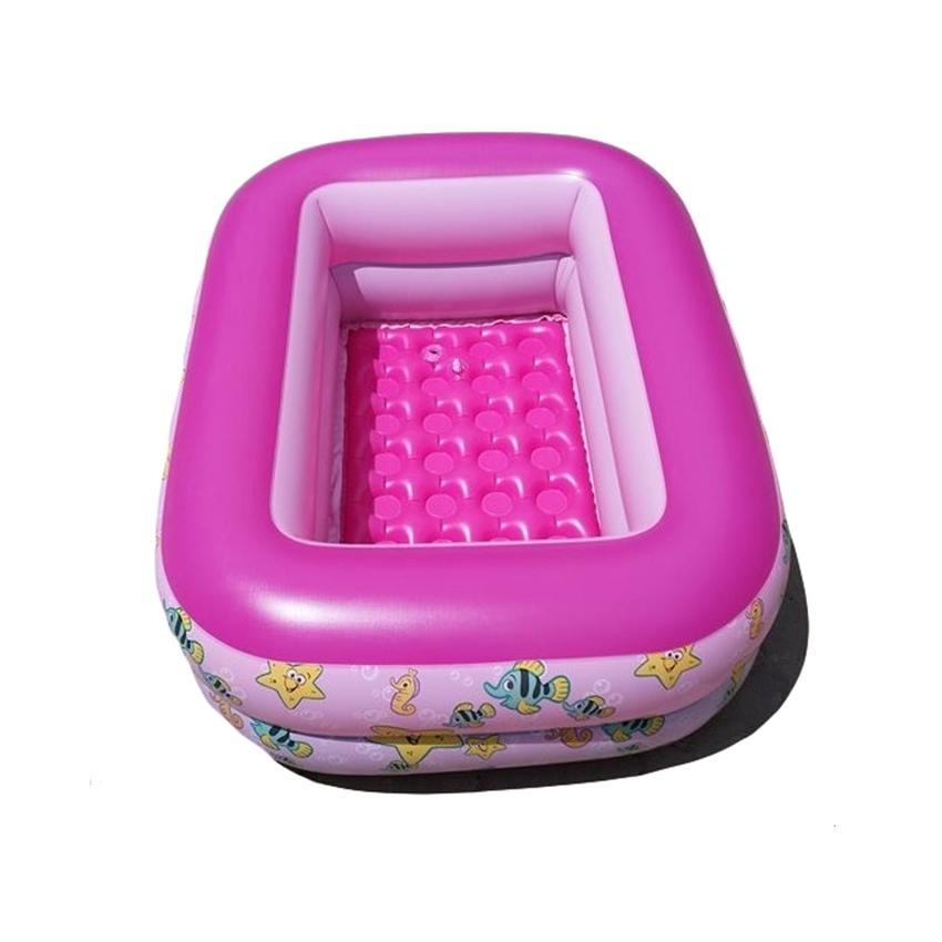 สระน้ำเด็กเป่าลม ขนาดเล็ก 120 cm ขอบ 2 ชั้น สีชมพู แถมฟรี ห่วงยางคอเด็ก