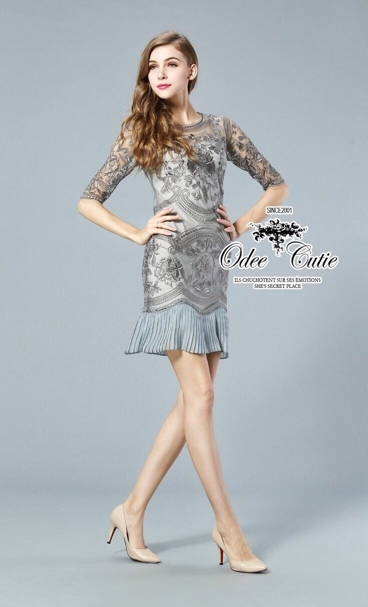 Elegance and classy embroidery lace dress