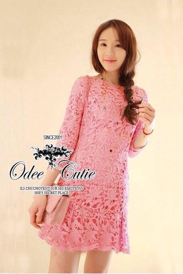 Elegant pink lace dress