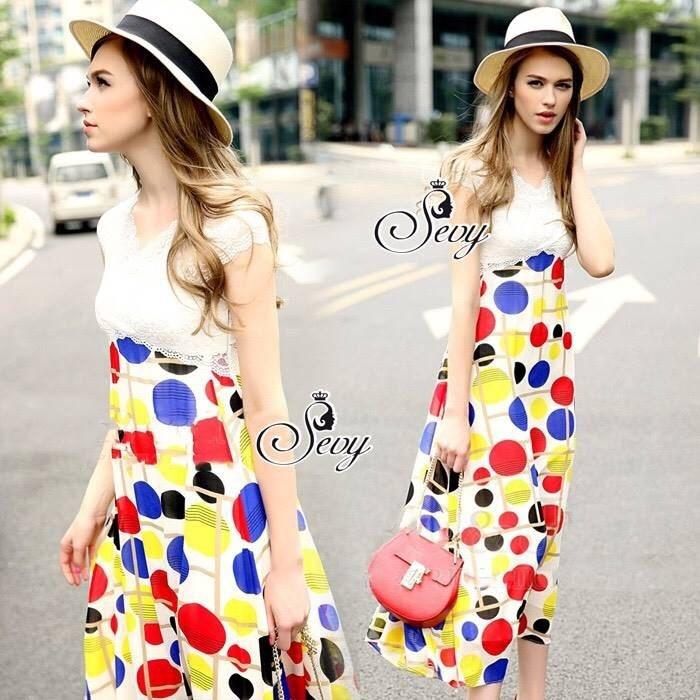 Lace Bust Colorful Polka Dot Maxi Dress