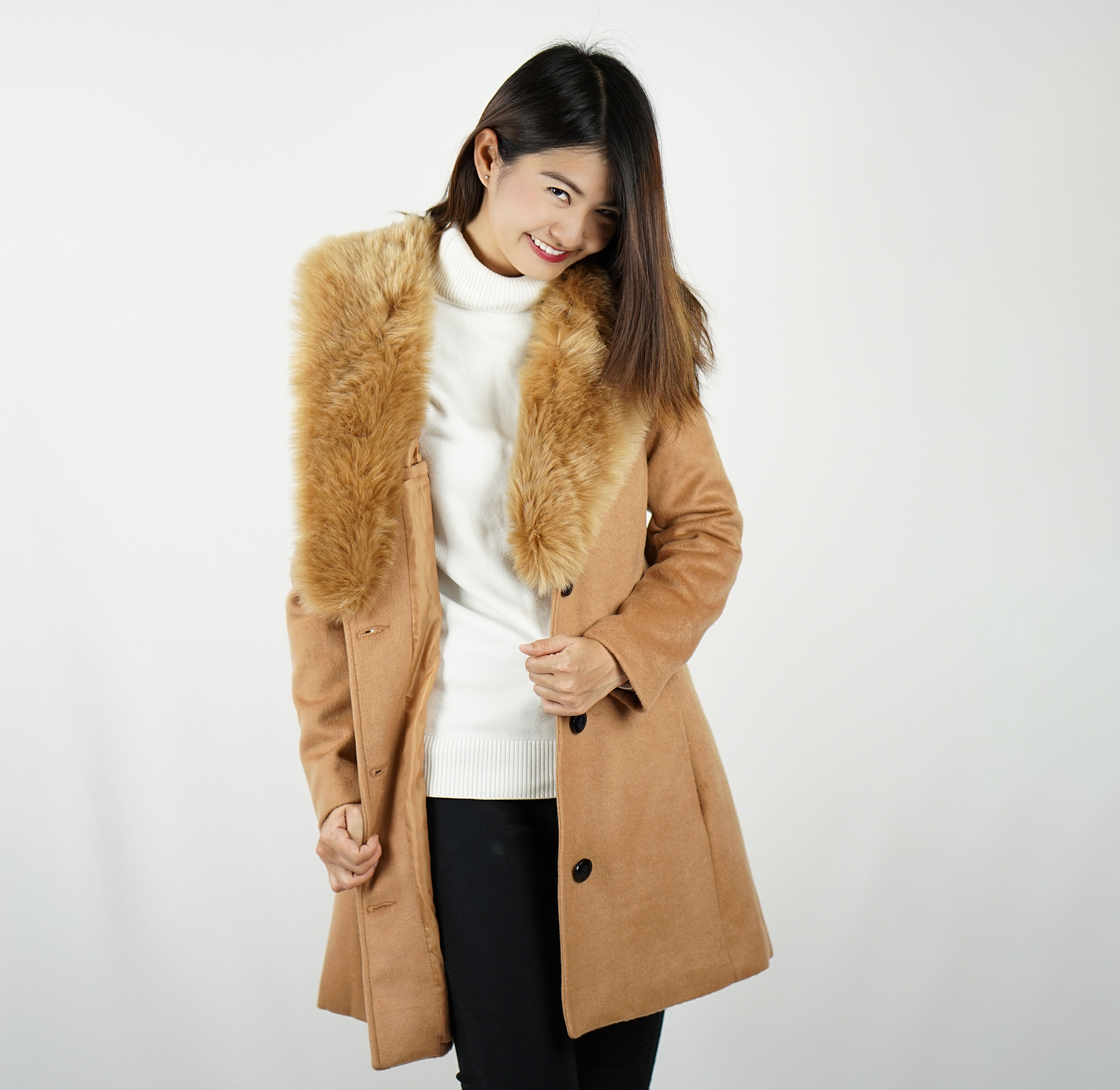 Momonga | Overcoat Classic belt - Brown