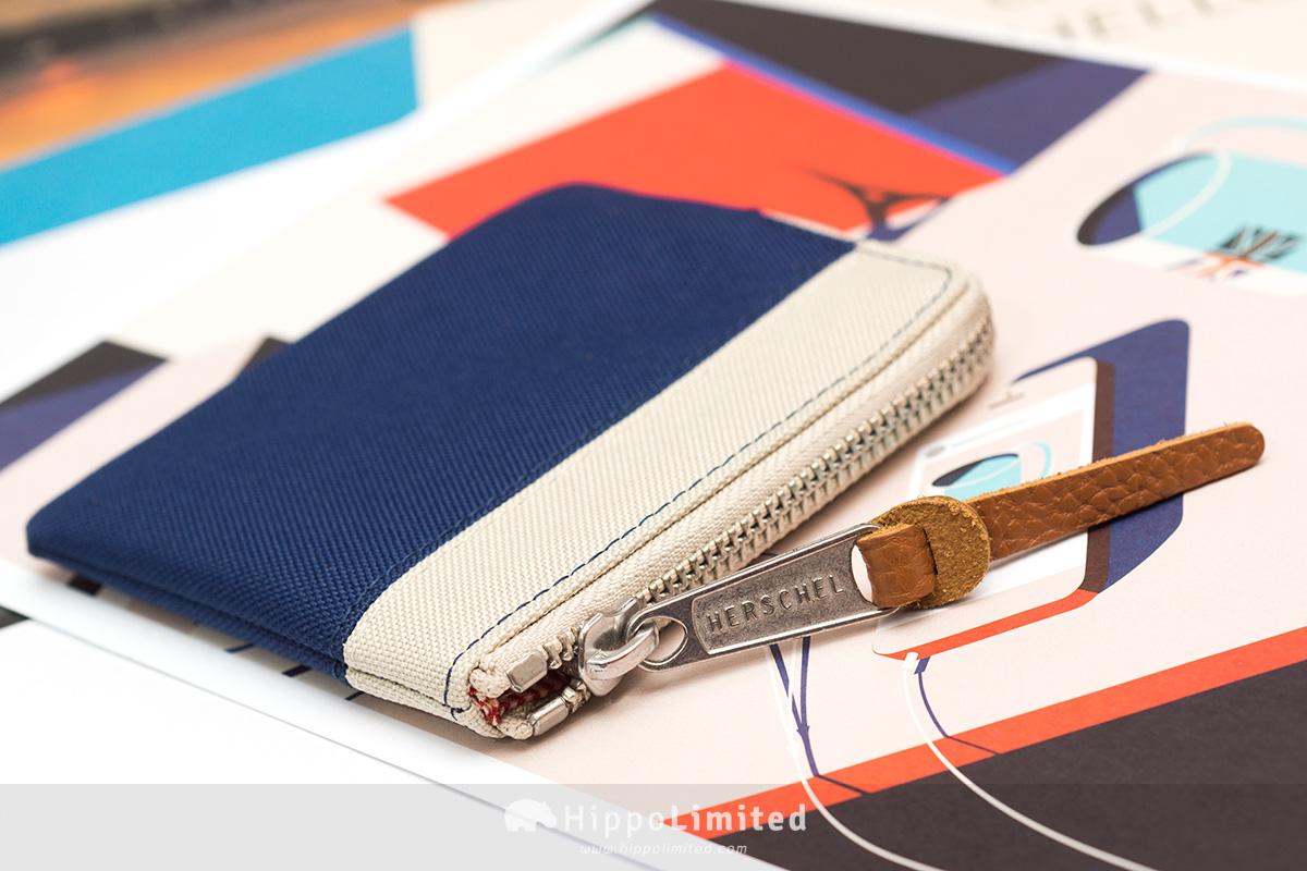 กระเป๋าเหรียญ Herschel Johnny Wallet - Twilight Blue / Pelican ซิปสีเงินตัวดึงหนังแท้