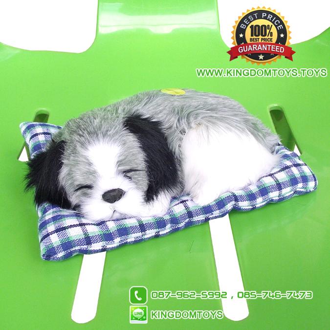 ตุ๊กตาหมานอนหลับ สีเทา [เบาะฟ้า] 13x17 CM