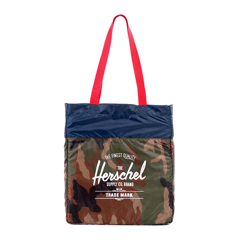 Herschel Packable Tote - Woodland Camo / Navy / Red