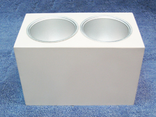 กระป๋องลอยเหลี่ยมในกลม 2 ช่อง 15x27 cm.