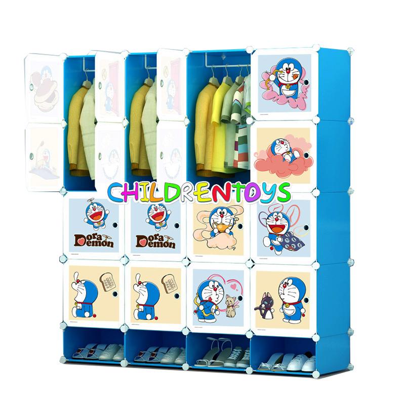 ตู้เสื้อผ้าเด็กพลาสติก DIY ลาย Doraemon