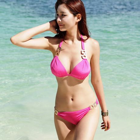 ชุดว่ายน้ำบิกินี่ทูพีช สีชมพูสวย บรา+บิกินี่แต่งห่วงเหล็กสวยๆ