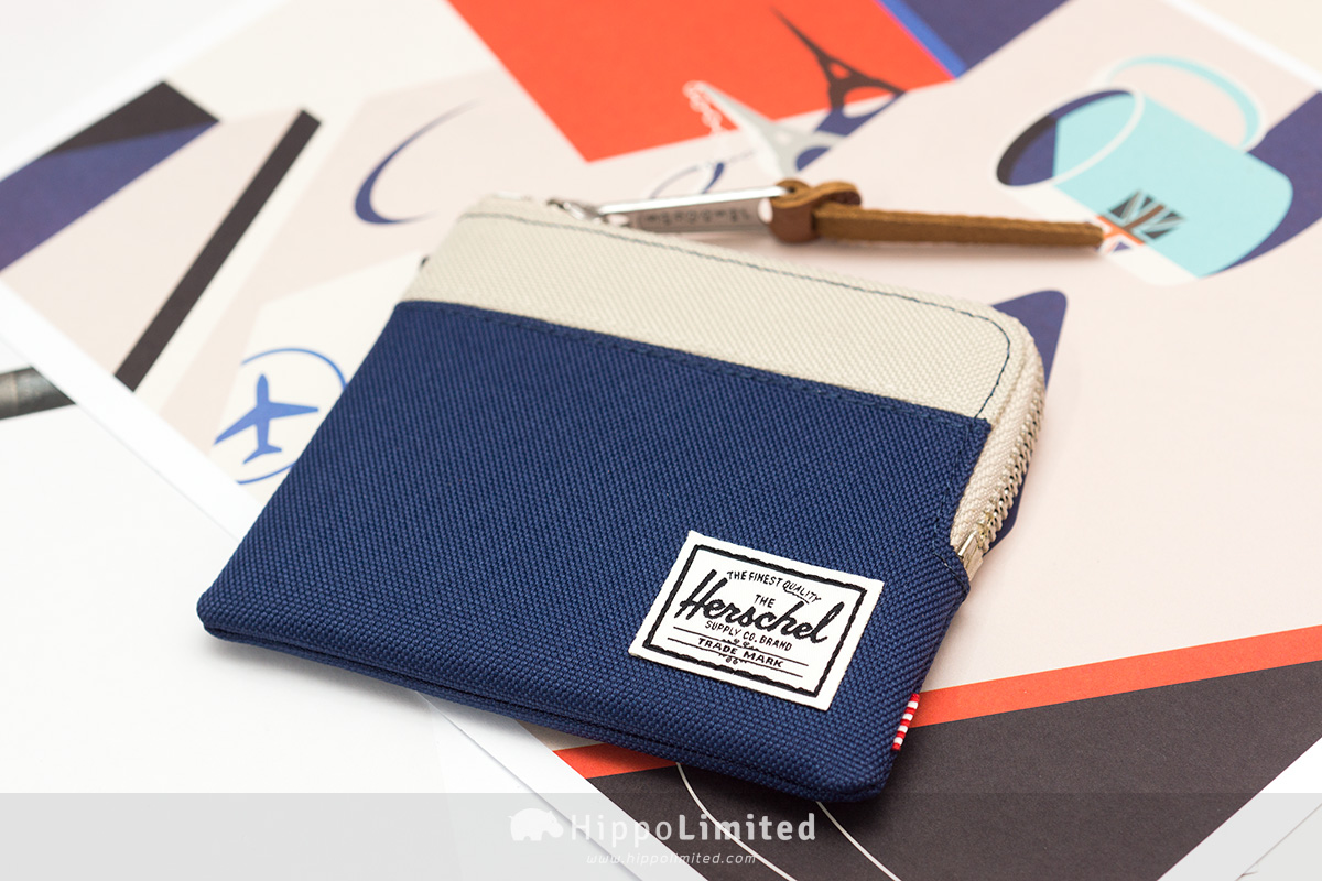 กระเป๋าเหรียญ Herschel Johnny Wallet - Twilight Blue / Pelican ด้านหน้าเต็มใบ สีครีมตัดน้ำเงิน