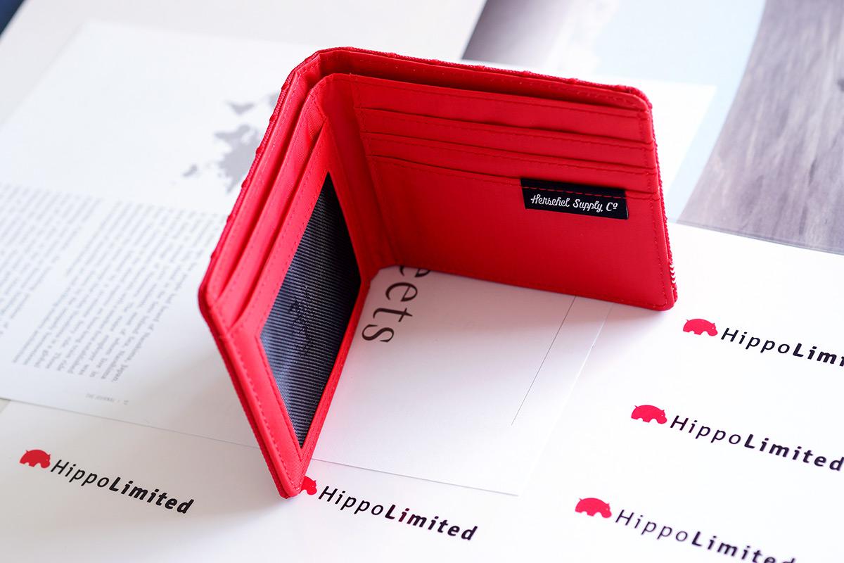 กระเป๋าสตางค์ Herschel Hank Wallet - Red Embroidery Polka Dot
