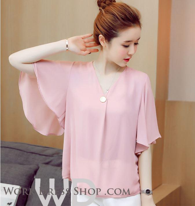 Preorder เสื้อทำงาน สีชมู คอวี ดีเทลอกเสื้อแบบทับไขว้เก๋ไก๋สุดๆ แขนทรงปีกค้างคาว เนื้อผ้าระบายอากาศได้ดี