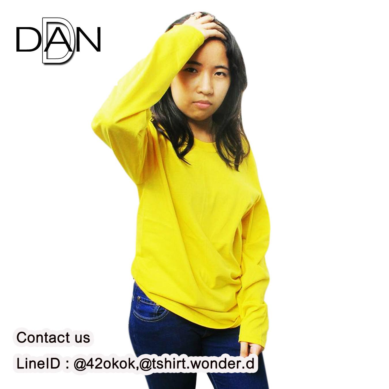 เสื้อยืดคอกลมแขนยาว สีเหลือง